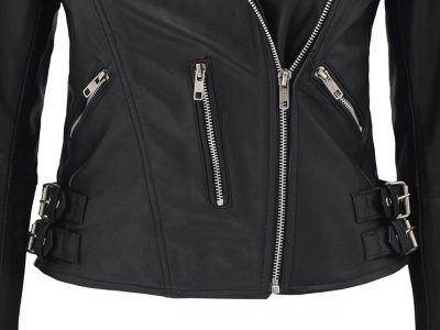 Stylish black leather jacket