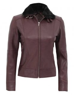 Styllish brown fur collar leather jacket womens