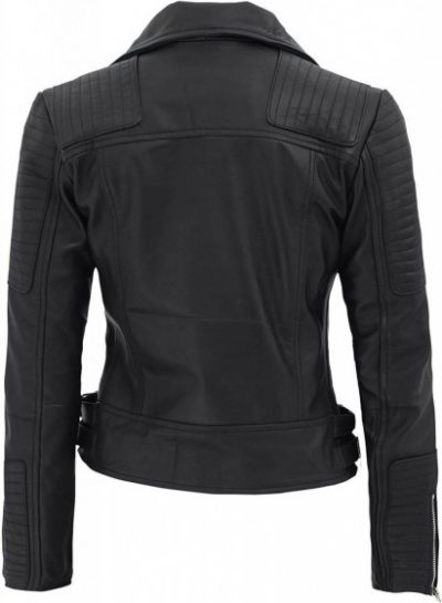 Womens Biker leather jacket black