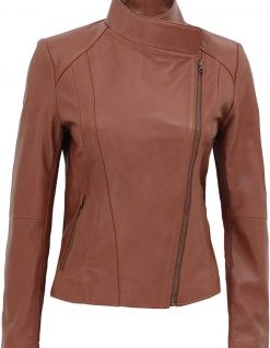 Womens brown leather jacket Tan