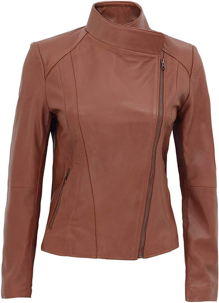 Cafe Racer Brown Leather Jacket For Women