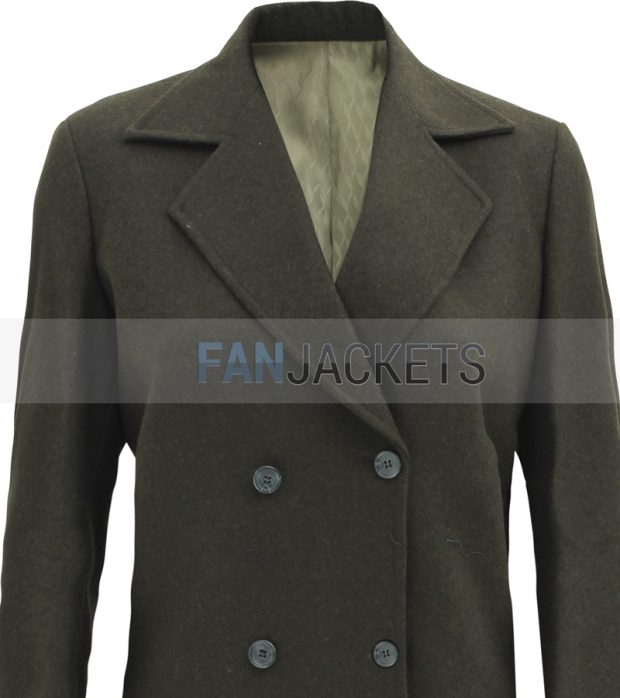 Womens green wool coat double breasted