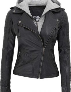 Womens hooded leather jacket black
