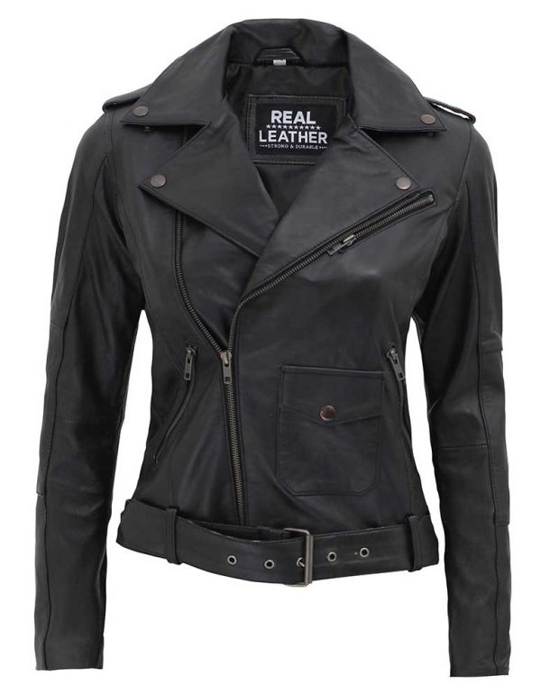 Womens motorcycle leather jacket black