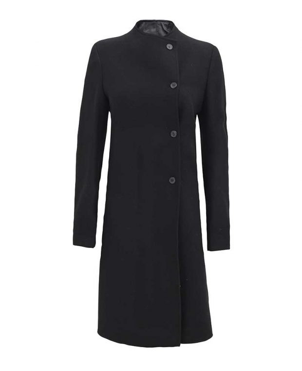 Womens new black wool coat trench