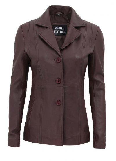 brown leather coat blazer womens