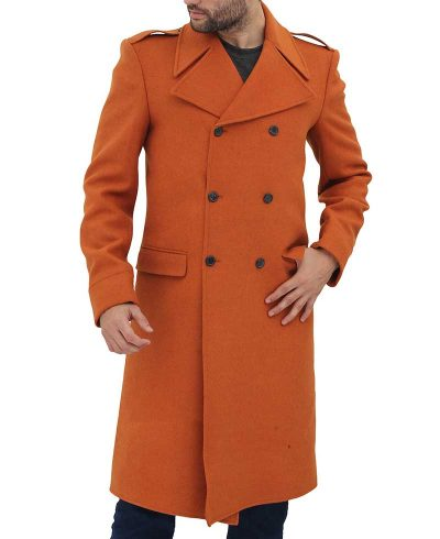 double breasted long coat mens