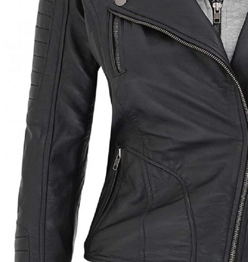 hooded jacket for women black leather