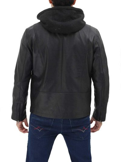 real leather jacket with hood for men