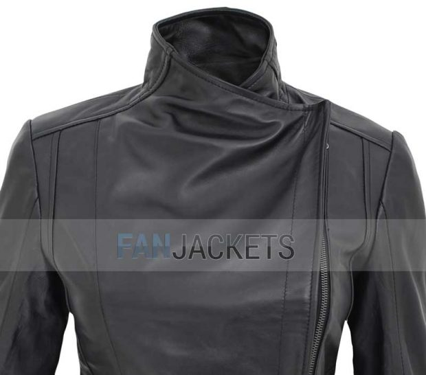 women black cafe racer jacket asymmetrical