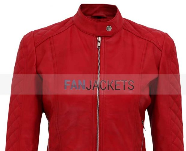 women red leather jacket quilted