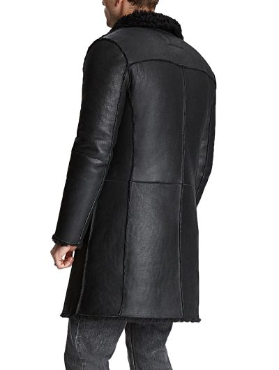 Asymmetrical black shearling leather coat