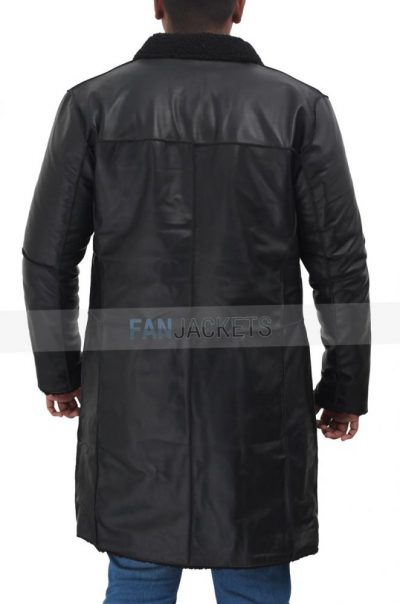 Black leather coat for men shearling lining