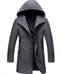 Hooded grey wool coat mens