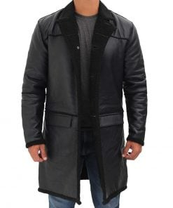 Mens black leather shearling coat