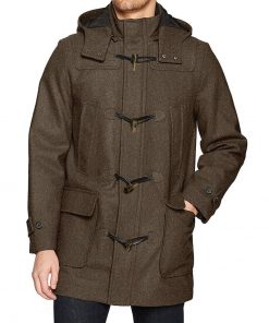 Olive green wool coat mens with hood