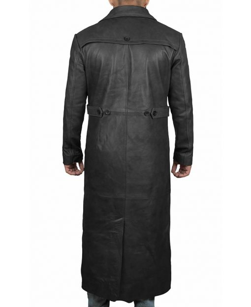 Real leather black leather coat