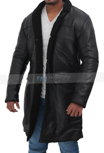 Real leather black shearling coat
