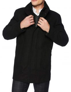 black wool 3 4 length coat zipper style