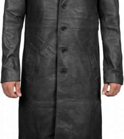 long black trench coat mens real leather