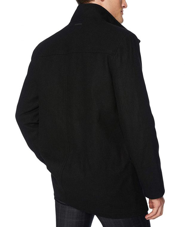 mens 3 4 length wool coat black