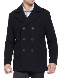 mens black wool coat double breasted