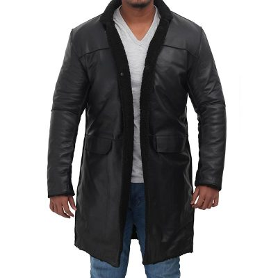 mens shearling leather coat jacket