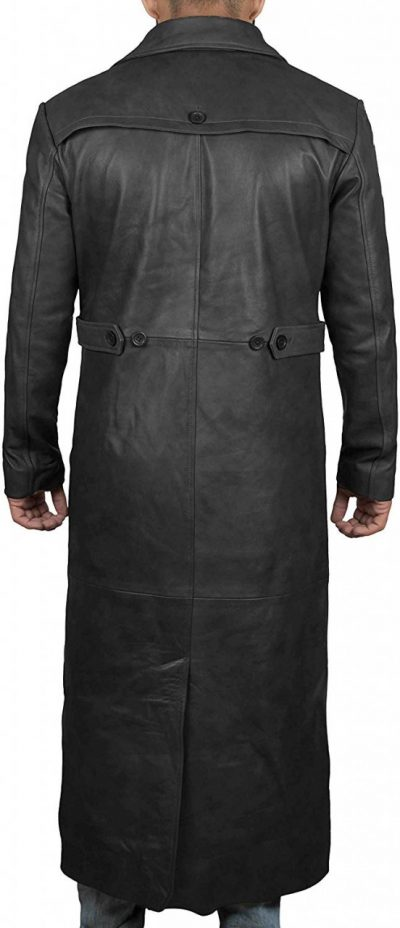 real leather black trench coat men