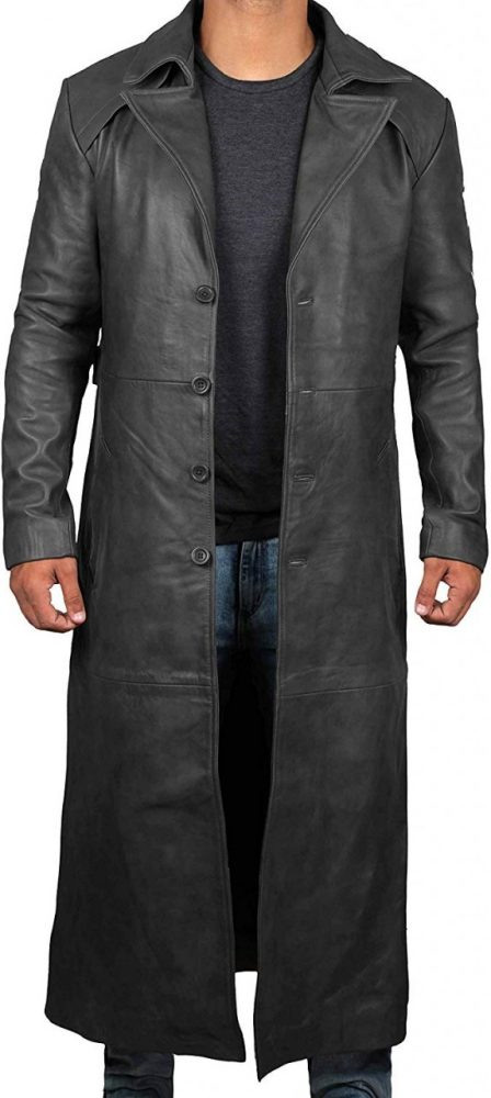 real leather black trench coat mens