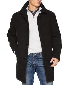single breasted wool coat black mens