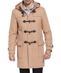wool duffle coat wih hood beige brown