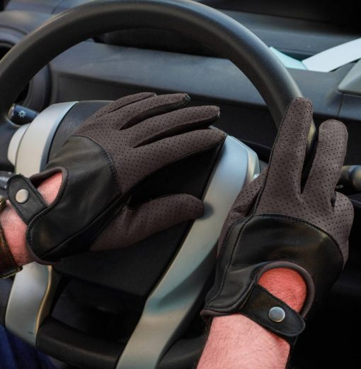 Black and Brown Leather Gloves