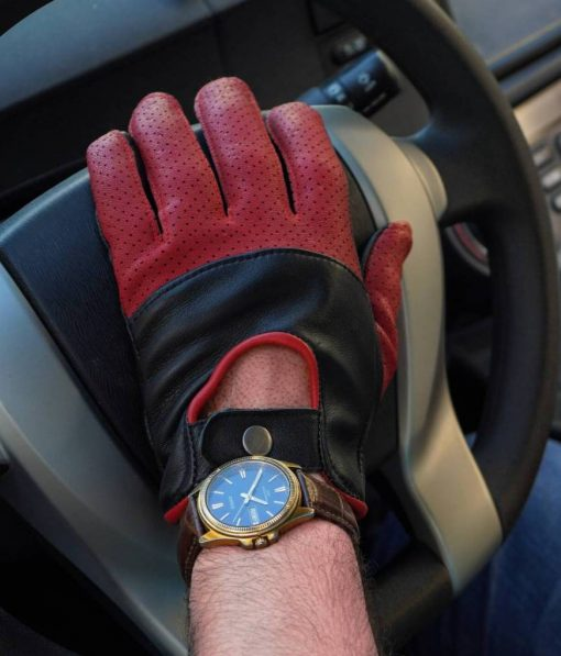 Black and Maroon Leather Gloves