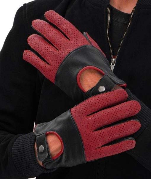 Black and Red Leather Gloves