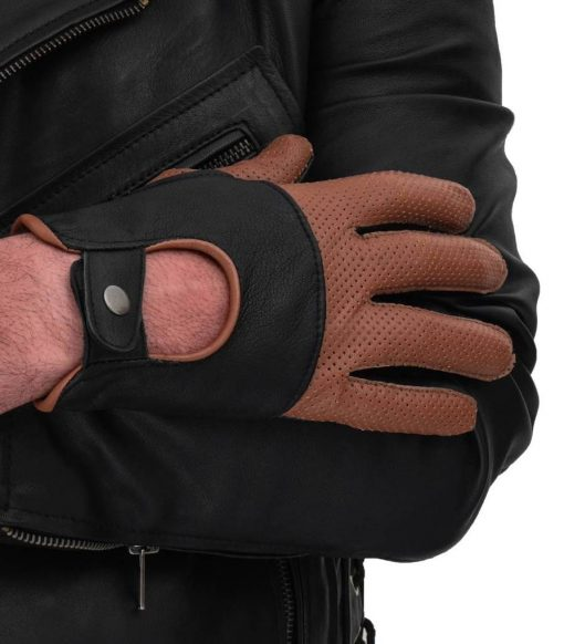 Black and Tan Leather Gloves