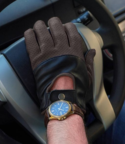 Brown and Black Driving Gloves