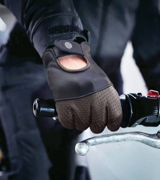 Brown and Black Leather Gloves