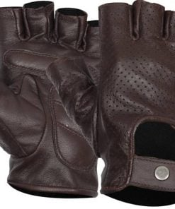 Fingerless Perforated leather gloves brown for men
