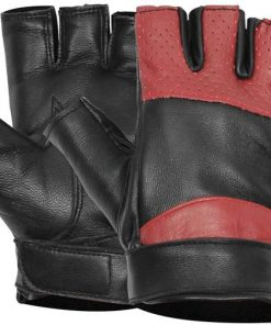 Fingerless Red and Black Leather Gloves
