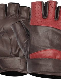 Fingerless brown and red leather gloves