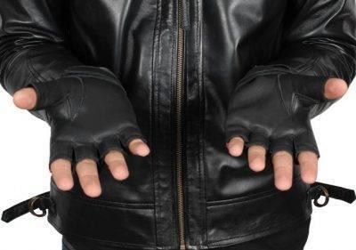 Fingerless leather gloves for men