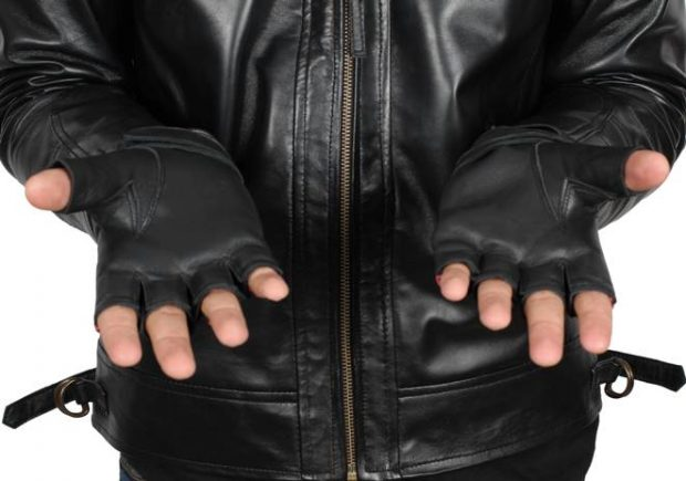 Fingerless leather gloves for men