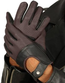 Dark Brown Leather Gloves Perforated