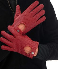 Mens Maroon Leather Gloves