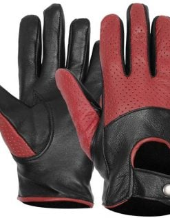 Mens Maroon and black leather gloves