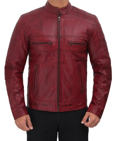 Mens Maroon leather jacket cafe racer