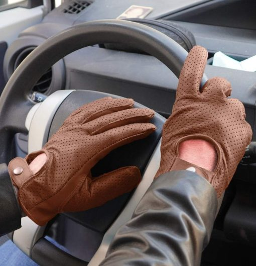 Mens Tan Leather Gloves