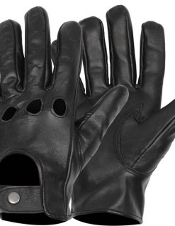 Mens black leather driving gloves