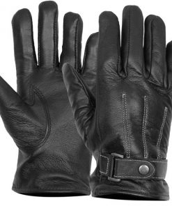 Mens real leather gloves black