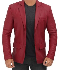 Real Leather maroon blazer